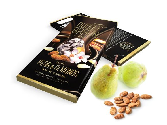 Dark 57% Pear & Almonds 100g