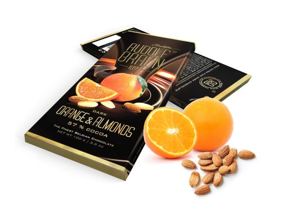 Dark 57% Orange & Almonds 100g